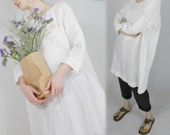 317---Women's White Linen Tunic Dress.