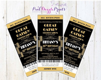 Great Gatsby Invitation- Prom Ticket- Party Invitation- Any Occasion