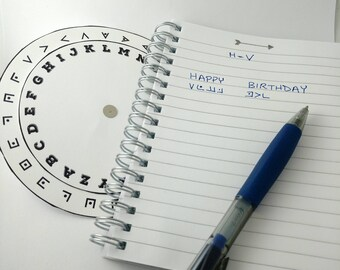 Pigpen Cipher Code Wheel Printable - Coded Message Secret Agent Spy Party Decoder