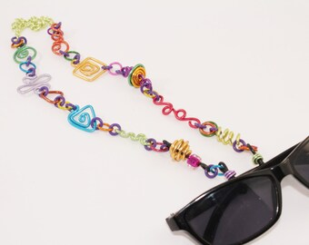 Multicolor Eyeglass Lanyard Necklace Chain Geometric shapes Aluminum Lightweight Fashionable Unique Stylish No. CL14