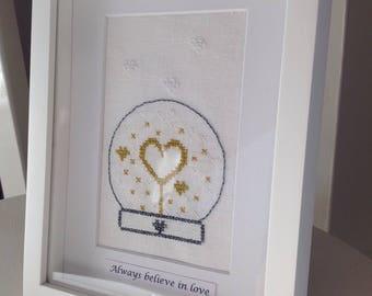 "Love globe artwork - Framed needlework ""Always believe in Love"""