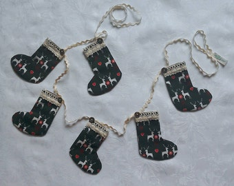 Christmas garland, stocking garland, Christmas stocking, bunting, fireplace decoration, stags, green