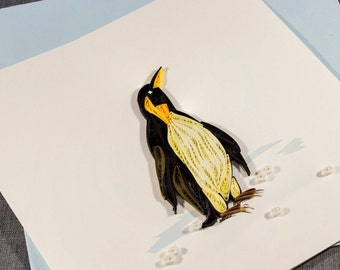 3D Blank Quilled Penguin Xmas Card Animal Quilling Card