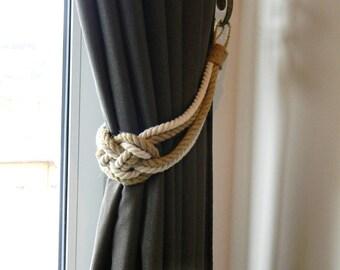 Set of 2 pcs..Curtain Tie-backs..Cotton and Jute rope..Nautical Decor..Carrick Bend Knot..Curtain tiebacks