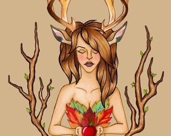 Deer girl print, 13x18cm, decoration