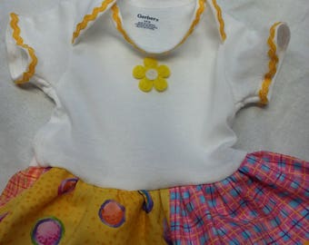 Yellow Floral Onesie Dress  - 3-6 months
