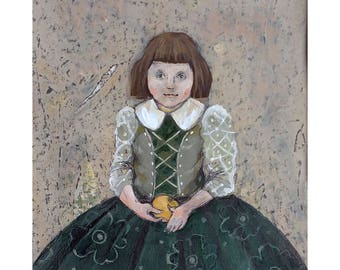 Girl original illustration painting people figurative Matted portrait green dress