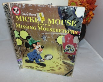 Vintage 1956 Walt Disney's Mickey Mouse and the Missing Mouseketeers Little Golden book Hardcover