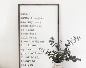 Think Happy Thoughts Wood Sign Framed