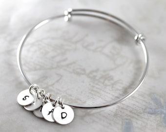 Mother's Day gift, Initial charm bracelet, expandable bangle bracelet custom hand stamped, handmade mother gift bracelet