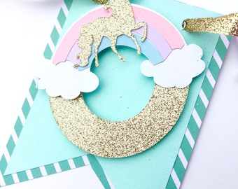 Unicorn smash cake set, pastel smash cake set, gold glitter first birthday highchair banner, BANNER ONLY