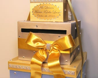 Quinceañera / Sweet 16 / Birthday /Wedding Card Box Gold Silver and light blue Gift Card Box Money Box  Holder--Customize in your color