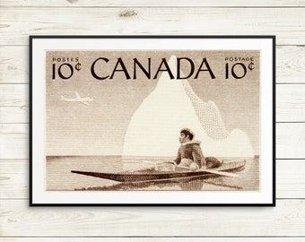 indigenous people, native canadian art, indigenous canadian, inuit canadian, canadian postage stamps, old stamps, kayaking, kayak paddle