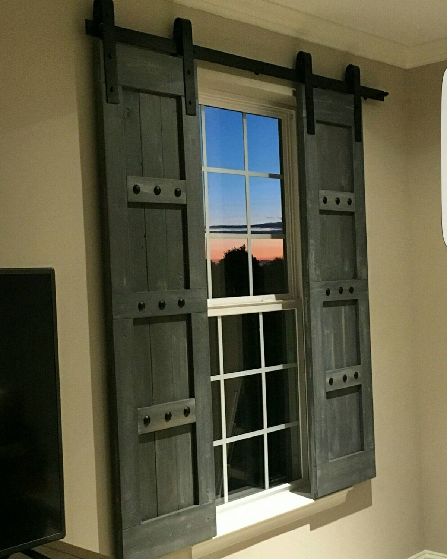 gallery photo gallery photo gallery photo ... & Interior Window Barn Shutters - Sliding Shutters - Barn Door Shutter ...
