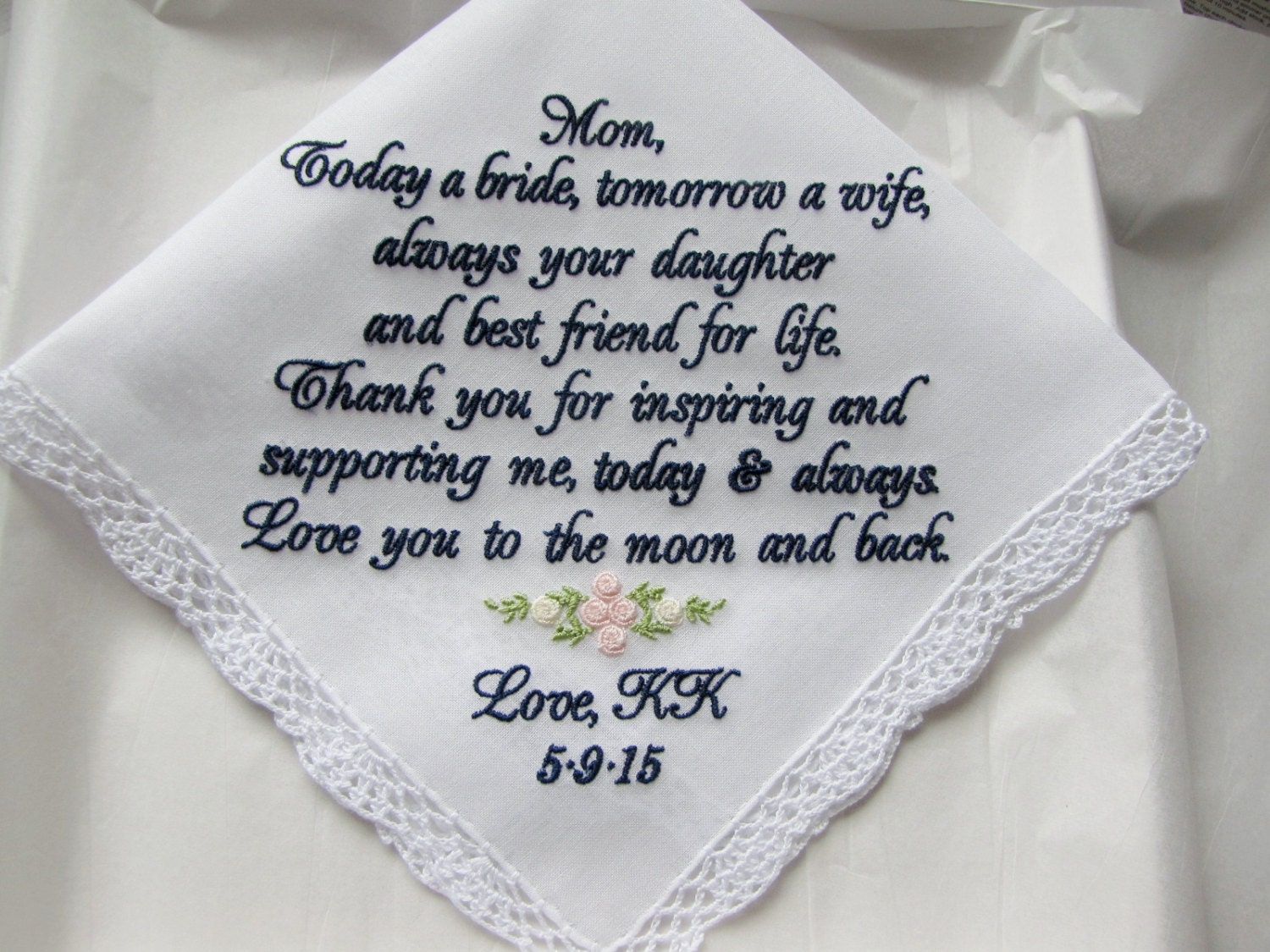 Custom Embroidered Mother Wedding Handkerchief Gift From Bride ...
