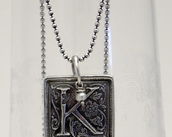 Custom Silver Initial Necklace