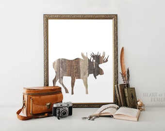 Printable art Moose art print Printable moose Woodland nursery decor art Moose wall art Moose printable Woodland toddler decor Cabin decor
