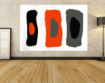 Painting On Canvas Large Wall Art Acrylic Abstract Minimalist contemporary Original Acrylic Huge paintings Black White Grey Orange  G55