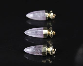3pcs 5pcs,Plated Gold Natural Amethyst Faceted Slice points,Raw Purple Crystal Quartz bullet stick Pendants Necklaces Jewelry making
