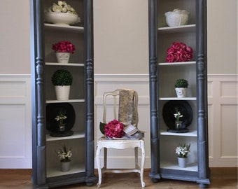 Handed Painted Pair of Tall Pine Bookcases in Pigeon Grey