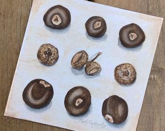 Nuts - Original Ink and Watercolor