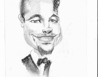 Custom black and white one person caricature head and shoulders framed