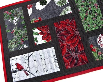 Quilted Christmas Table Runner, Holiday Table Runner, Winter Table Runner, Cardinal Table Runner, Birch Trees, Poinsettias, Holly