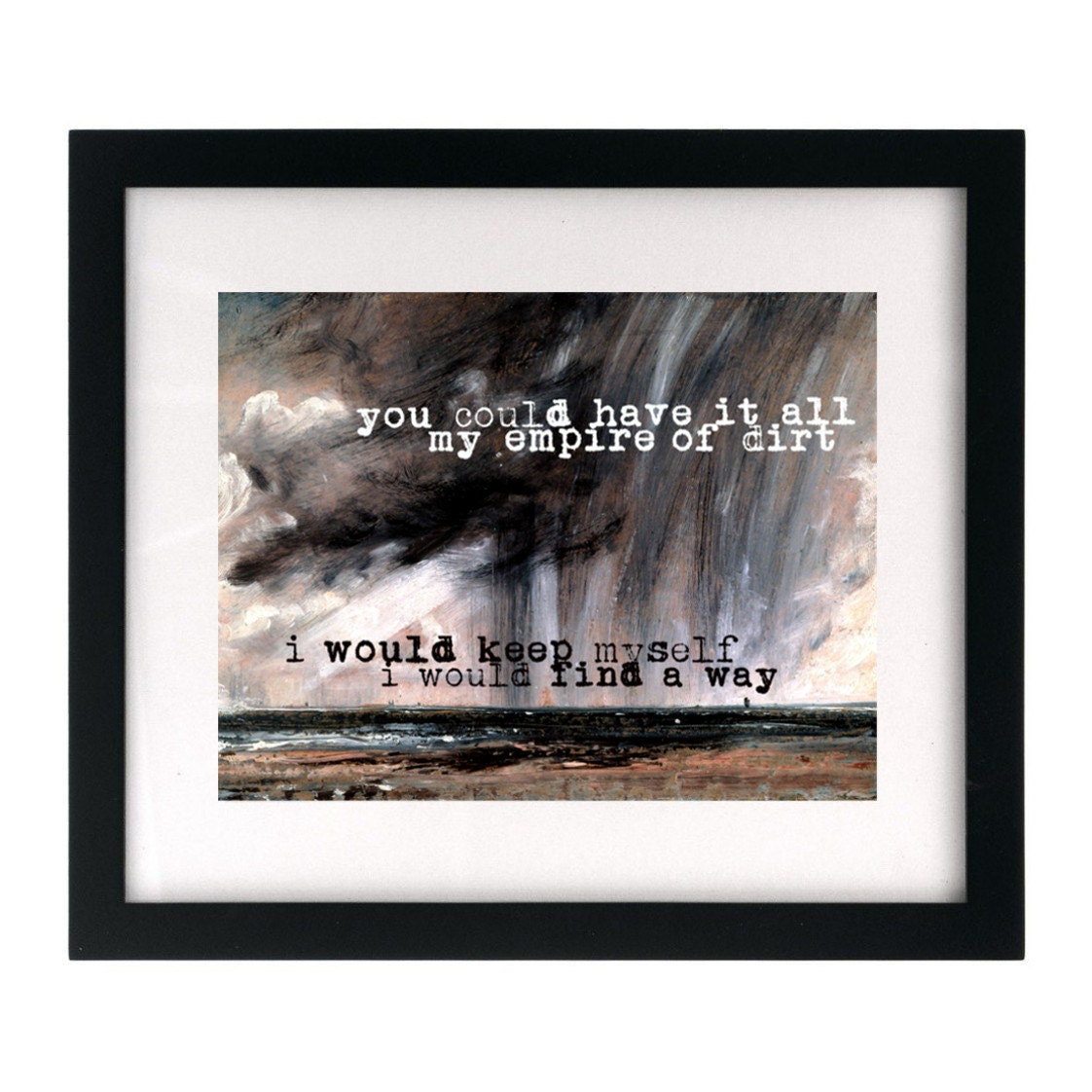 Nine Inch Nails/Johnny Cash Hurt. Song Lyric Art Print wall