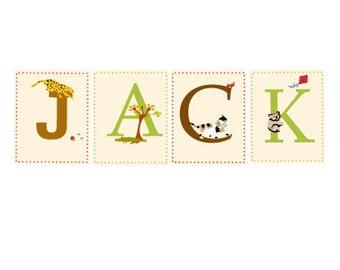 custom child's name  illustrated alphabet prints  nursery art
