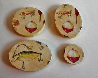 Fishing Bobber Wood Magnet Set