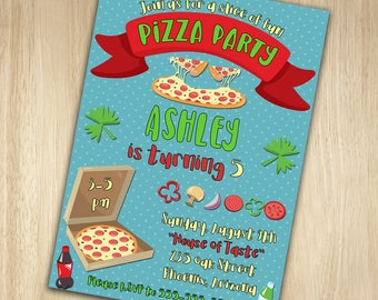Pizza Birthday Invitation, Pizza Birthday Party Invitation, Pizza Invitation, Pizza Party, Birthday Invitation, Pizza Birthday Invite