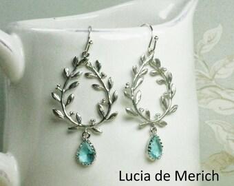Silver Laurel Wreath Earrings. Aqua Glass Teardrop Silver Laurel Wreath Earrings. Chandelier Earrings, Dangle Earrings, Gift for Her