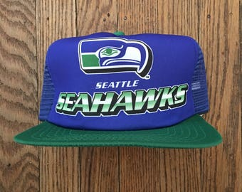 Vintage 80s 90s Deadstock New Era Seattle Seahawks NFL Mesh Trucker Hat Snapback Baseball Cap * Made In USA