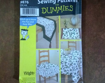Simplicity 5854 pattern for dummies fleece blankets throws pillows simplicity 9876 table coordinates sewing patterns for dummies 3 size tablecloth 2 size table runner placemat tied chair seat pad watchthetrailerfo