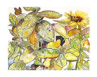 Monarch Bee and Milkweed Archival Print, By Michelle Kogan, Giclee, Watercolor, Painting, Pen and Ink, Drawing,  Art & Collectibles, Nature