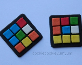 12 edible 80'S RUBIK PUZZLE Cube cake cookie cupcake toppers decoration party wedding anniversary birthday engagement 70's 16th 18th 21st