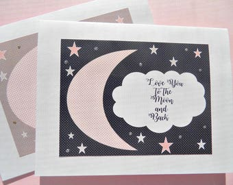 Welcome Baby Card - Love You To The Moon and Back - Baby Shower Card - New Baby Card - Mom to Be Card - Baby Boy Card - Baby Girl card - mc