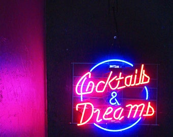 Neon sign etsy more colours cocktails dreams neon florescent sign photography wall aloadofball Images