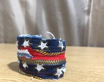 hippie red white and blue patriotic flag fabric cuff zipper  bracelet