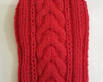Red Cable Knit Dog Sweater-Knitted Dog Sweater-Dog Coat-Dog Costume-Dog Clothes Size S
