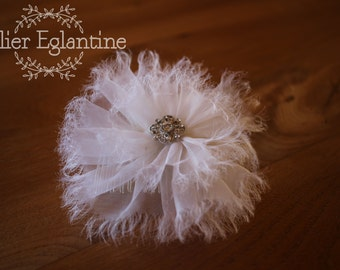 Large comb-mounted silk organza flower