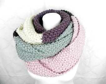 XXL loop pastel colors bulky chunky shawl wool alpaca knit Scarf