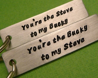 Captain America Inspired - Steve to my Bucky & Bucky to my Steve - A Set of 2 Hand Stamped Aluminum Keychains