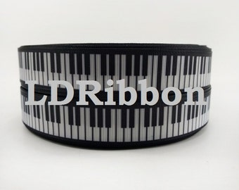 "7/8"" Piano Keys Grosgrain Ribbon"