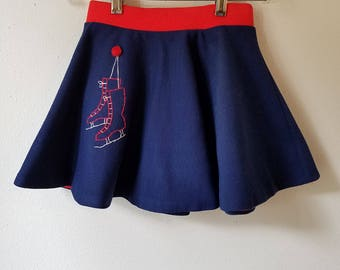 Vintage Girls Navy Blue Ice Skating Skirt with Red Trim and Embroidered Skates by Playmore - Size 10 - Excellent Condition