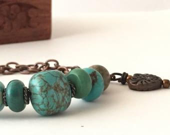 Bohemian Handmade Bracelet- Turquoise Beads-Boho Bracelet- Handmade Bracelet-Heart Charm-Earthy By Design-Rustic Bracelet-Natural Stone