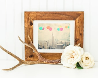 "Balloons Over New York City - 8x10 photograph - ""Balloons over the City"" - vintage photography - Manhattan  - New York skyline"