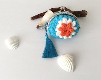 Blue Wallet, Flower Pouch Crocheted Purse, Spring Handmade Coin Bag
