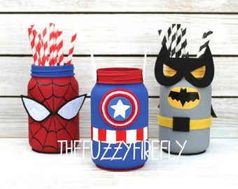 Superhero Captain america inspired Superhero Mason jar Centerpiece,Superhero Party,Superhero BabyShower Decor,Superhero Decor,Desk Decor,