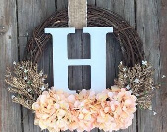 Wreath For Door, Monogram Wreath, Front Door Wreath , Summer Door Wreath, Farmhouse Wreath,Wedding Gift, Wreath With Letter, Bridal Shower